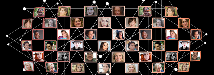 on black background a network of white lines connects a collage of photos of diverse people smiling