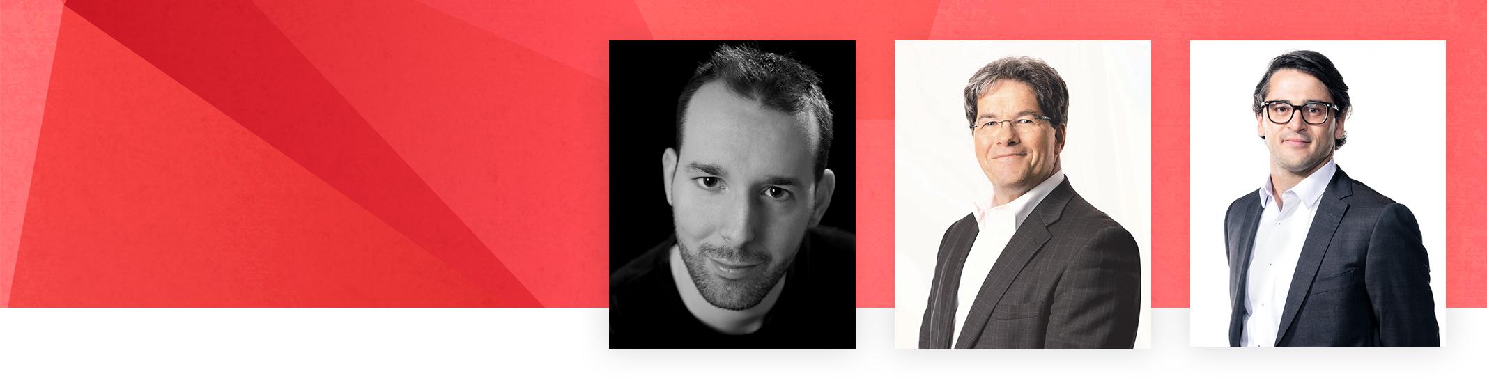 Portraits de 3 hommes journalistes