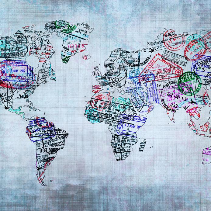 Carte du monde créé avec des étampes de passeport