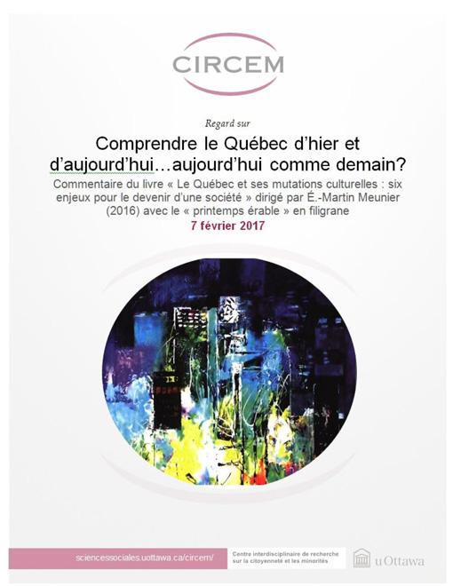 page couverture: Comprendre le Québec d'hier et d'aujourd'hui… aujourd'hui comme demain? d'Alexandre Turgeon