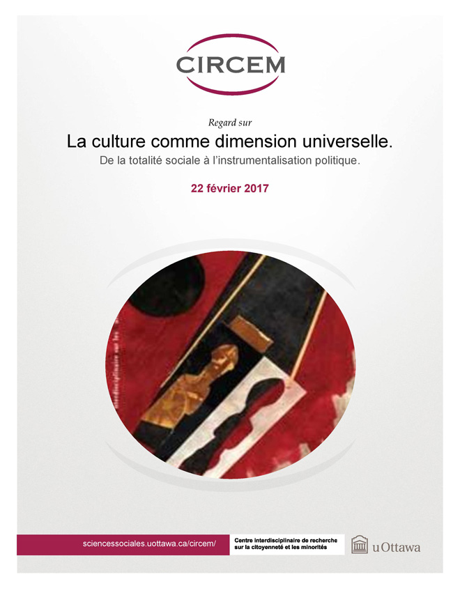 page couverture: La culture comme dimension universelle. De la totalité sociale à l'instrumentalisation politique de Stéphane Vibert.