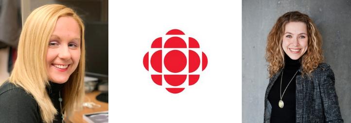 Portrait de Rachel Fayter, Jennifer Kilty et du logo de CBC