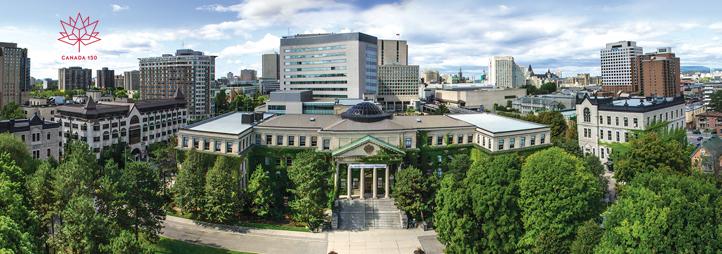 Vue extérieure du campus de l'Université d'Ottawa