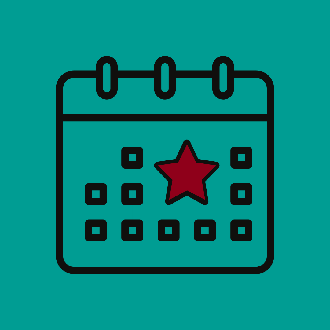 Graphic of a calendar with a red star on a date