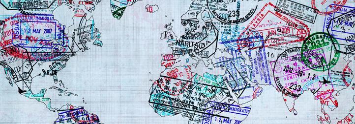 map avec des étampes de passport