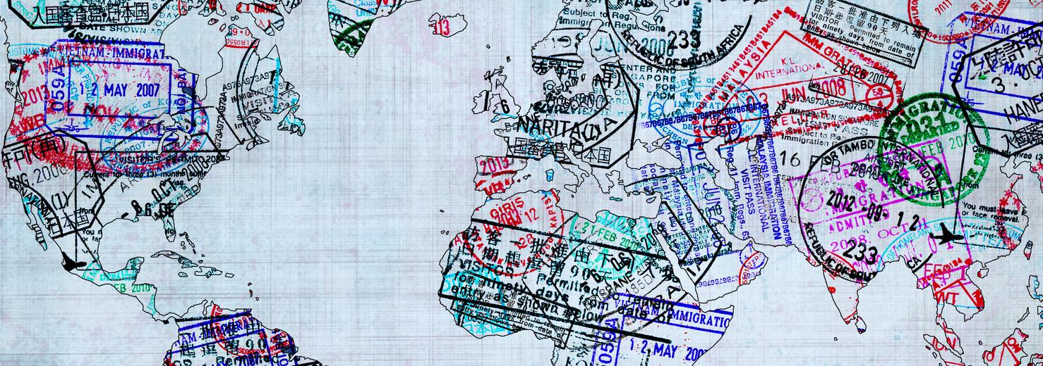 carte du monde avec étampes de passport