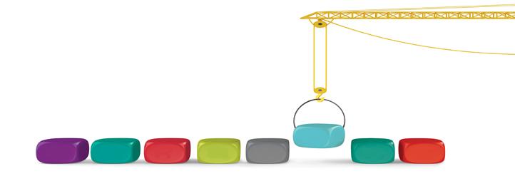 coloured blocks with a crane
