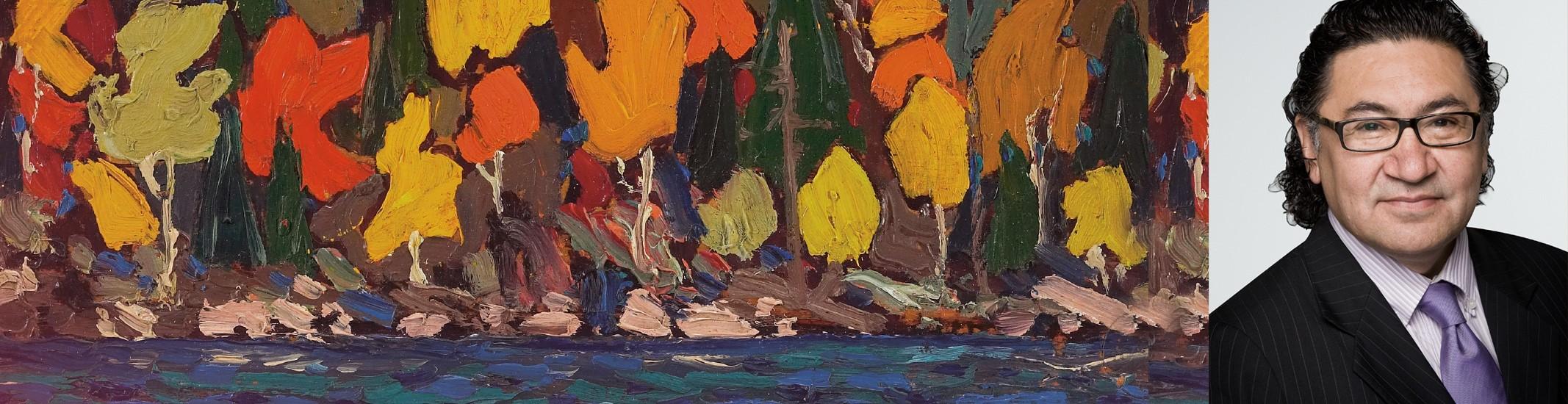Peinture de motif abstrait texturé avec Roméo Saganash