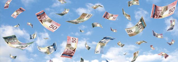 Billets d'argent qui tombent du ciel