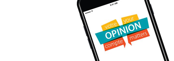 Image écran de cellulaire avec message Votre opinion compte