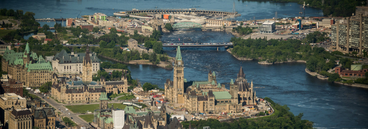 Vue aérienne d'Ottawa
