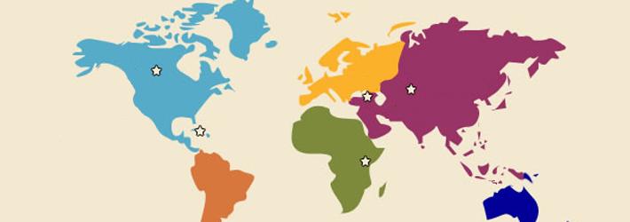 carte du monde identifiant les chapitres