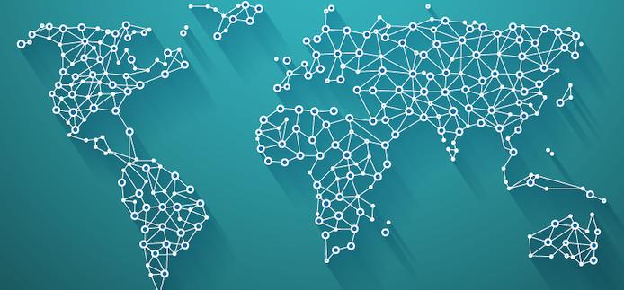 carte du monde composée de points connectés et de lignes blanches sur fond turquoise