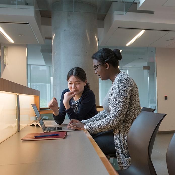 Deux étudiantes qui collaborent sur un travail à l'ordinateur