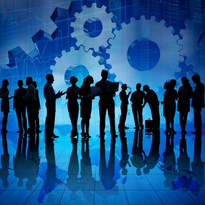 Illustration de gens d'affaires, devant un fond bleu