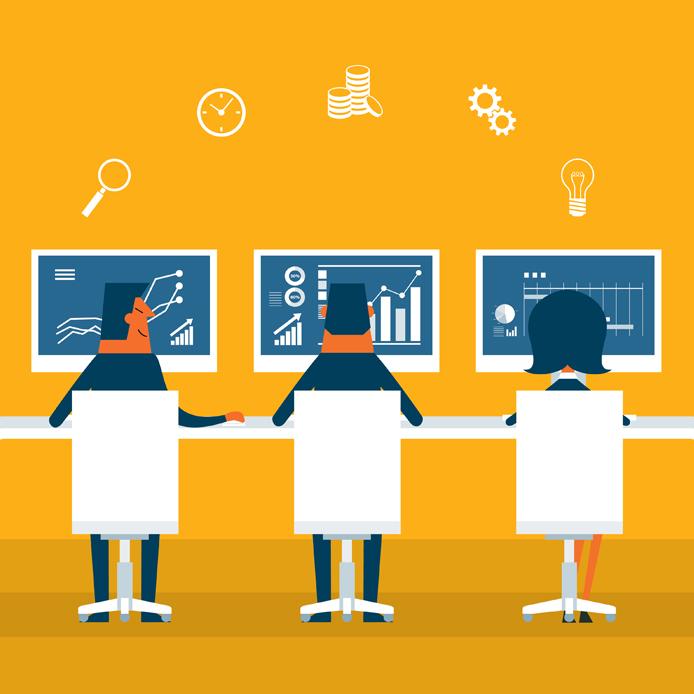 Illustration de trois personnes travaillant sur des graphiques devant leur ordinateur