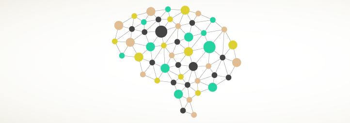 Points se connectant pour former un cerveau
