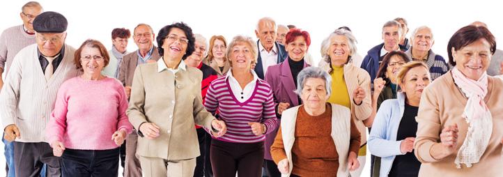 Group of diverse seniors dancing