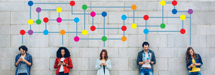 Group of diverse young people on their electronic devices, with colorful graphic showing their connections