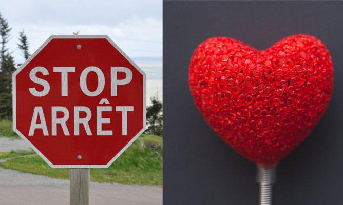 signe d'arrêt et un bonbon en forme de coeur