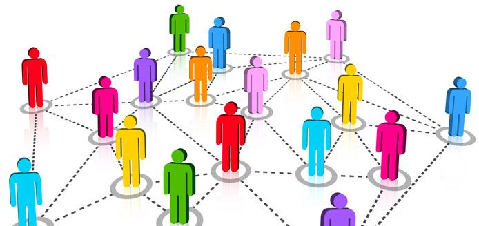 Graphique de plusieurs icônes de personnes connectées en pointillés