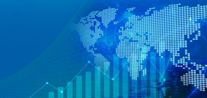 carte du monde et divers graphiques économiques en bleu