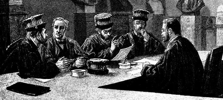 illustration blanc et noir des hommes autour d'une table