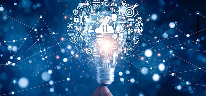 Ampoule électrique avec plusieurs icônes