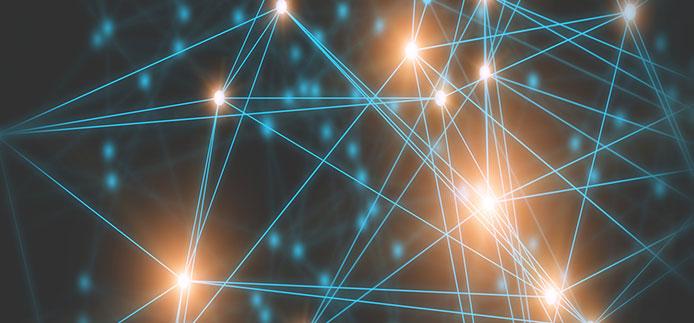 Points lumineux reliés par plusieurs lignes droites