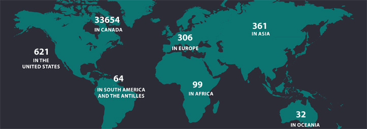 2018 Map of the World with numbers of alumni in different areas. Africa 99, Asia 361, Europe 306, North America 34 298, Canada 33 654, Mexico 23, United States 621, Oceania 32, South America and the Antilles 64, Total 35 160