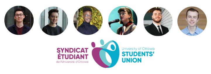 Photos des étudiants de la FSS élus au Bureau du Syndicat des Étudiants de l'Université d'Ottawa et logo du SEUO