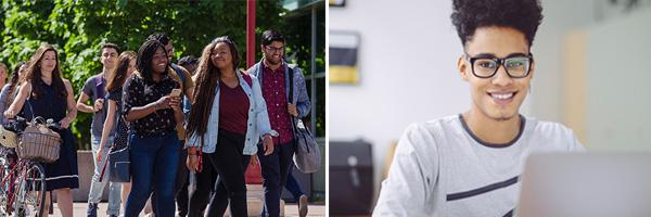 Un composé de deux image, une avec un jeune homme à un ordinateur, l'autre d'un groupe de personne qui travaerse une rue