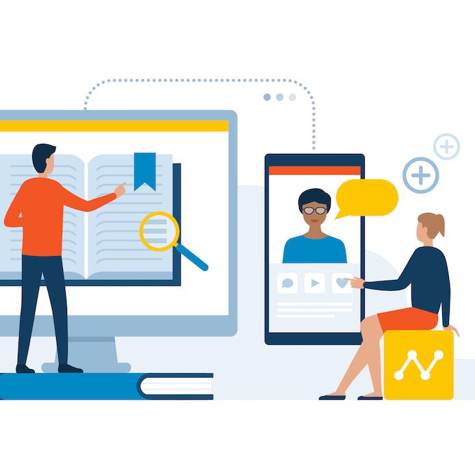 Illustration de 2 professeurs qui préparent et enseignent leur cours en ligne