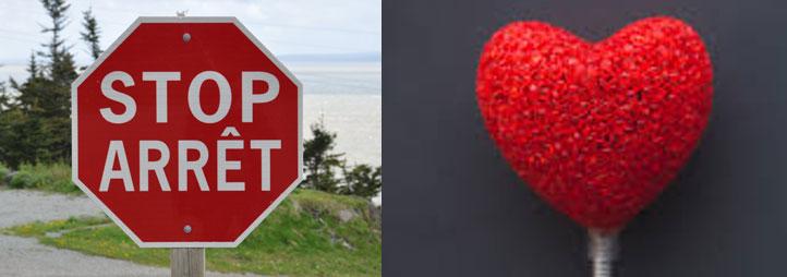 signe d'arrêt de couleur rouge et un coeur, de couleur rouge