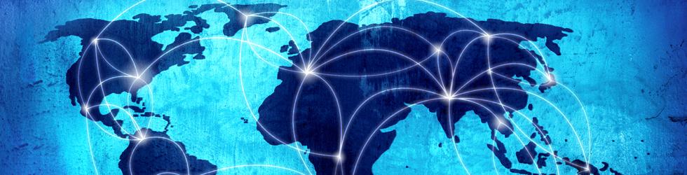 Carte du monde avec des connexions entre pays