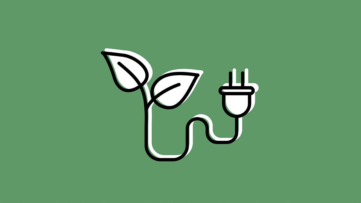 icône feuilles avec une tige qui se transforme en fiche électrique sur un fond vert