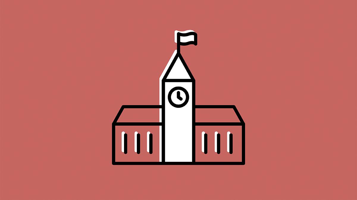 icône du bâtiment principal du Parlement en rouge