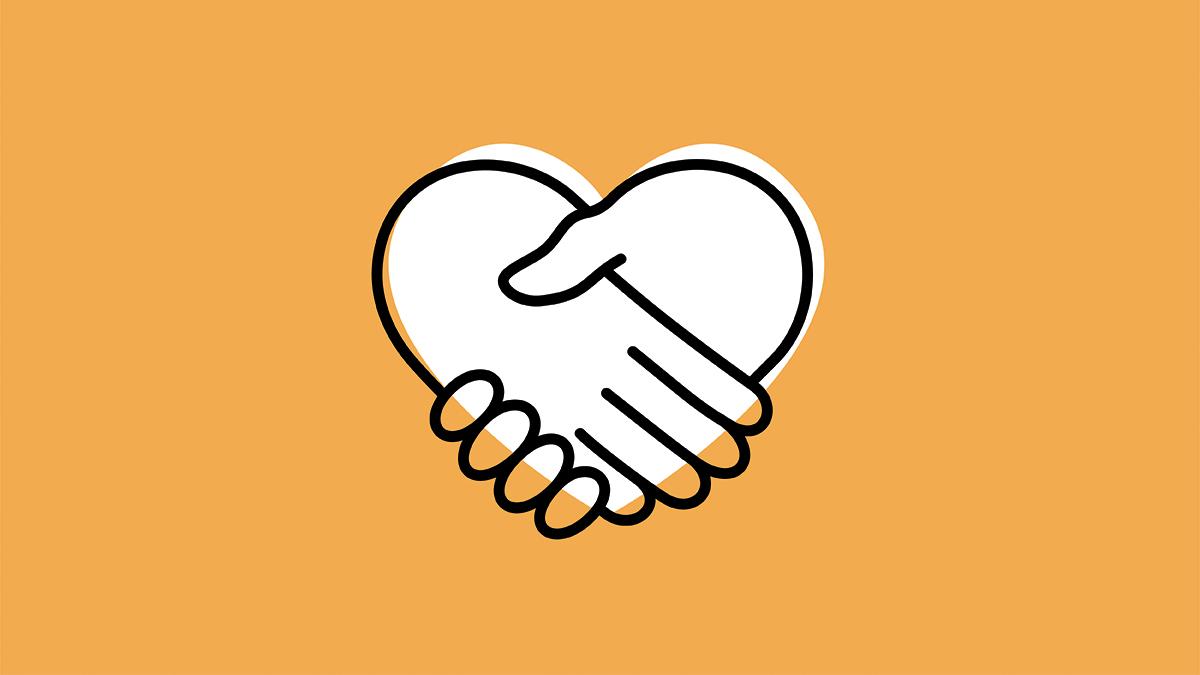 deux mains jointes en forme de cœur
