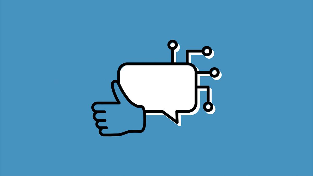 """Icône """"J'aime"""" Facebook, bulle de texte et grille technologique sur fond bleu"""