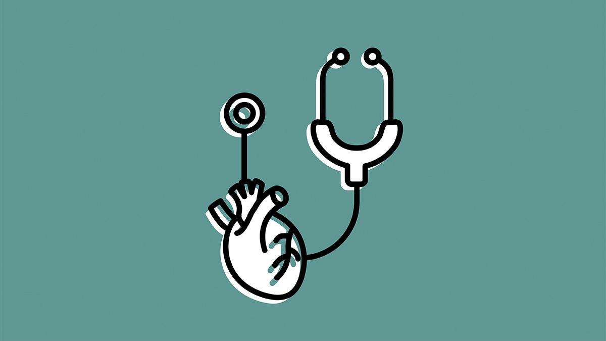icône du coeur humain et stéthoscope sur un fond turquoise