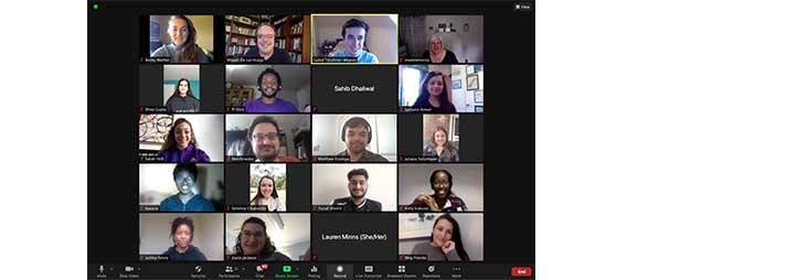 Screenshot de session Zoom avec étudiants et professeurs