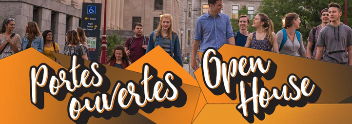 Des étudiants qui marche sur le campus - Portes ouvertes