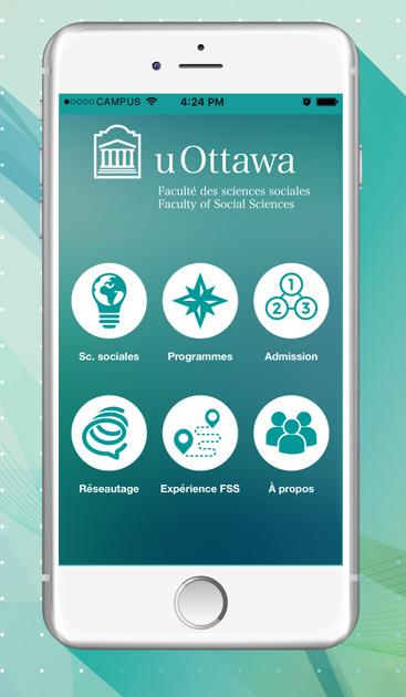 écran principale de l'application uOttawa FSS sur un iPhone