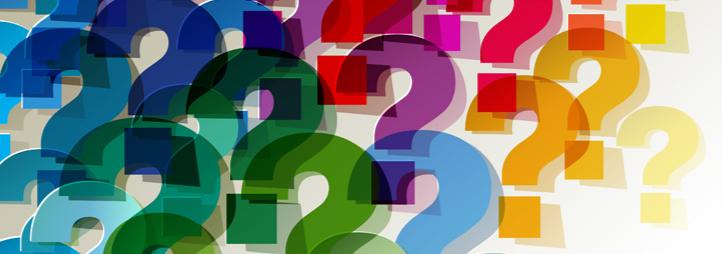 Nuage de points d'interrogations multicolores