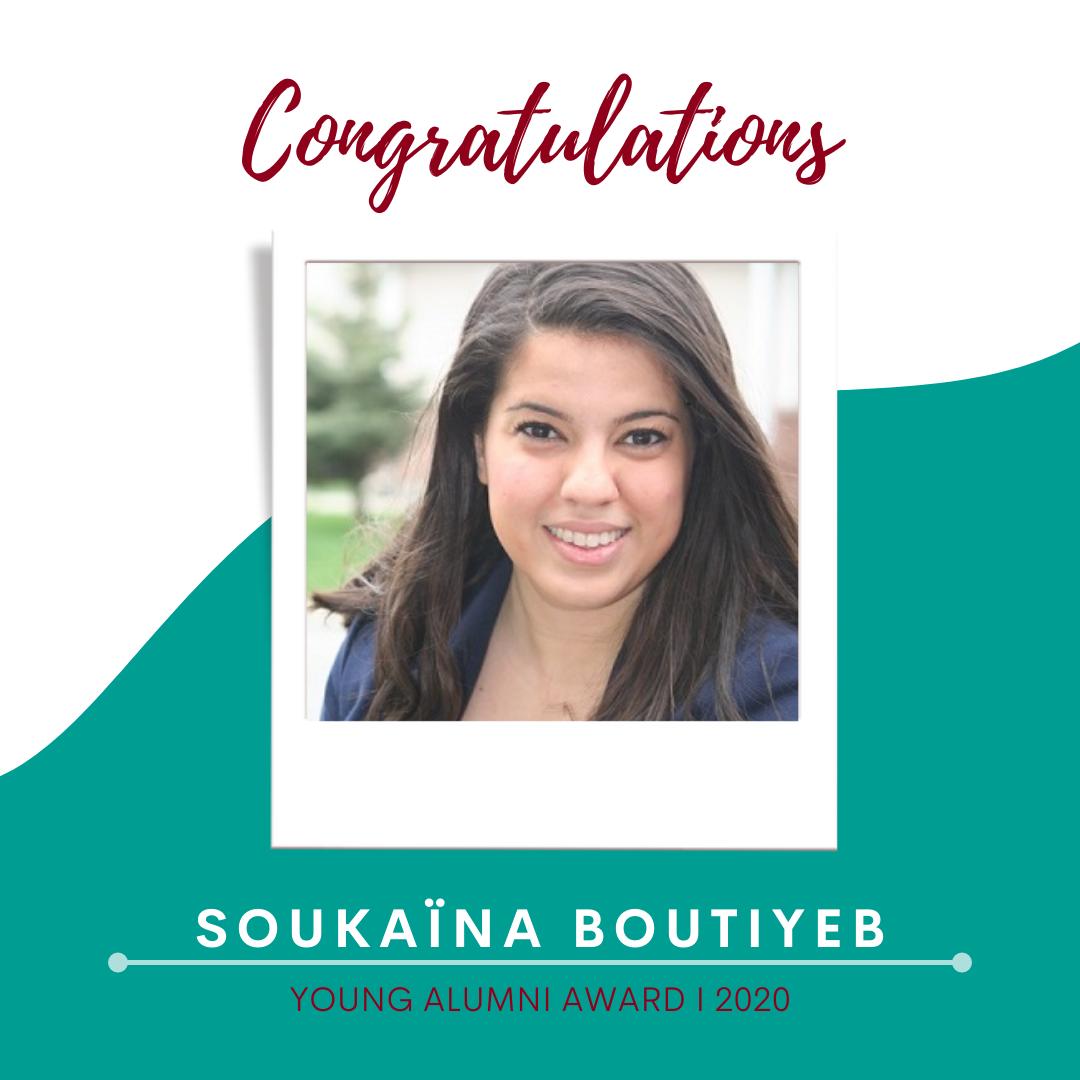 Félicitations Soukaina ! Notre ancienne étudiante et lauréate du prix Young Alumni Award 2020
