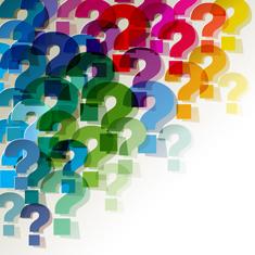 nombreuses marques d'interrogation colorées