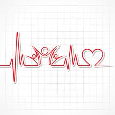 battement de coeur en rouge